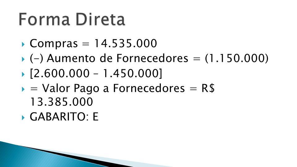 Forma Direta Compras = 14.535.000. (-) Aumento de Fornecedores = (1.150.000) [2.600.000 – 1.450.000]